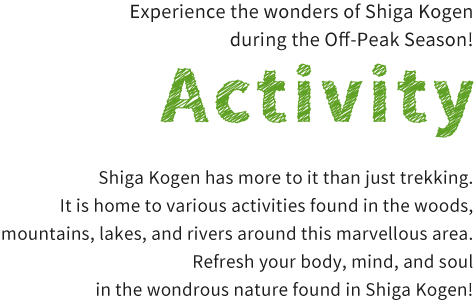 Experience the wonders of Shiga Kogen during the Green Season! - Activity - Shiga Kogen has more to it than just trekking. It is home to various activities found in the woods, mountains, lakes, and rivers around this marvellous area. Refresh your body, mind, and soul in the wondrous nature found in Shiga Kogen!