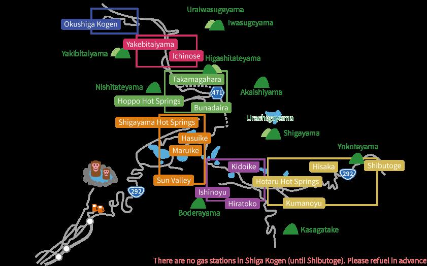 Shiga Kogen Accommodation Map