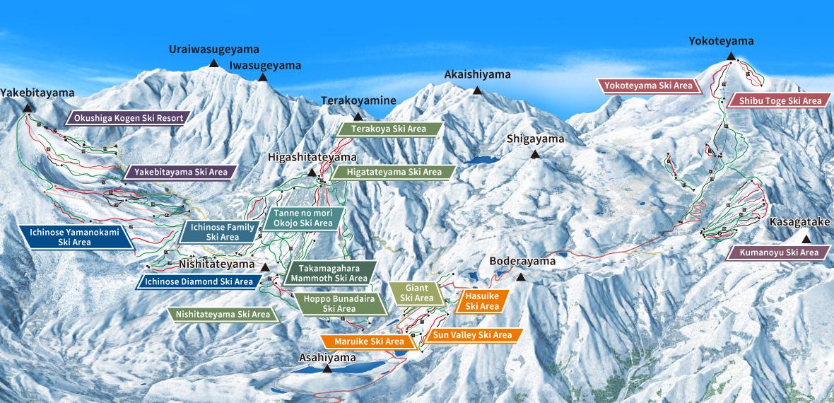 List of all Shiga Kogen ski areas