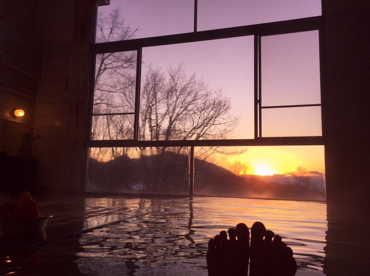 湯船から絶景を望む